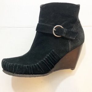 Biviel for Anthropologie black suede boots size 38